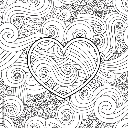 Coloring Page With Heart And Asian Wave Curl Ornament Happy Valentine Day Love Card