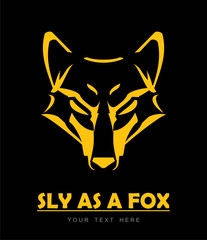 Fox. sly as a fox. Fox Head. Line art of elegant  fox head. Vector image of a yellow fox face design on black background.