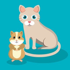 cute cat with hamster mascot icon vector illustration design