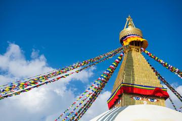 The Wisdom eyes on Boudhanath stupa landmark of Nepal