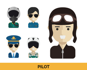 Modern Occupation People Avatar Set - Pilot Uniform