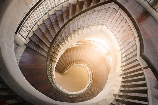spiral wooden staircase. Circular Staircase. decoration interior