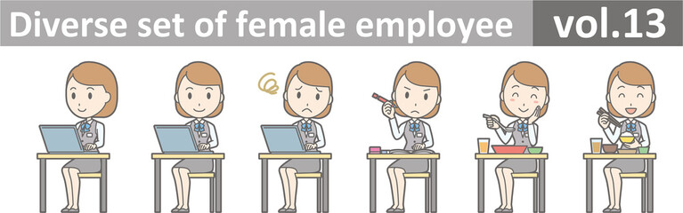 Diverse set of female employee, EPS10 vol.13