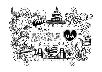 USA travel symbols in hand drawn sketch