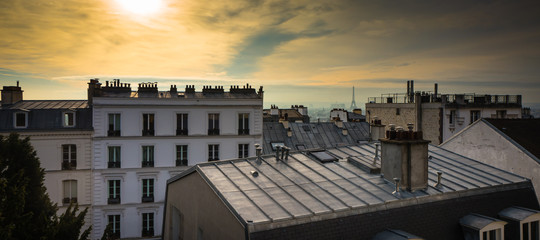 Paris rooftop from the top of Montmartre, with the Eiffel Tower in the background