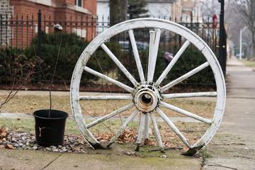 Wooden wheel on a street