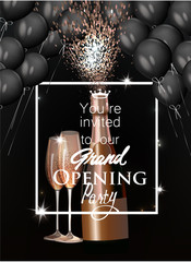 Grand opening background with glasses and bottle of champagne and black air balloons. Vector illustration