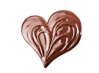 Melted chocolate heart shaped. Swirl isolated on white background.