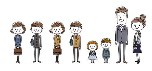 入学式イメージ:両親と男の子と女の子、セット