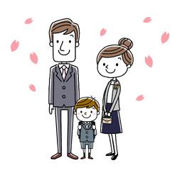 入学式イメージ:両親と男の子