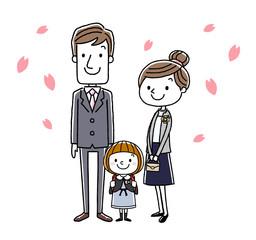 入学式イメージ:両親と女の子