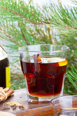 Grog with rum and black tea, selective focus