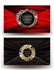 Elegant cards with vintage frames and fabric folded background. Vector illustration