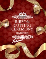 Elegant vintage ribbon cutting ceremony card with silk textured curled gold ribbons and leather background