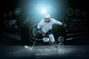 Ice hockey player on the ice around modern light