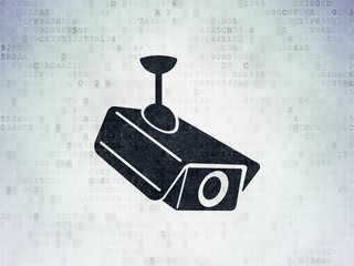 Protection concept: Cctv Camera on Digital Data Paper background