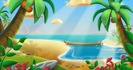 The Coconuts Tree Beach. Video Game's Digital CG Artwork, Concept Illustration, Realistic Cartoon Style Background