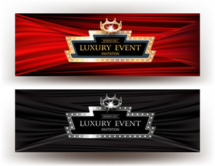 LUXURY EVENT INVITATION BANNERS WITH RETRO FRAME, CROWN and FABRIC BACKGROUND. VECTOR ILLUSTRATION