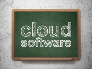 Cloud technology concept: Cloud Software on chalkboard background