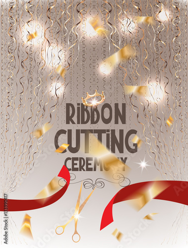 Ribbon cutting ceremony elegant invitation card with red cut ribbon ribbon cutting ceremony elegant invitation card with red cut ribbon scissors gold curtains and stopboris Image collections