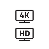 ultra hd 4k tv format full hd television icons set line outline