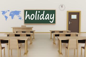 Empty classroom, 3d illustration,