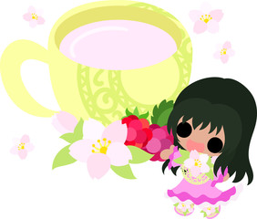 A cute little girl and hot milk of cherry blossom