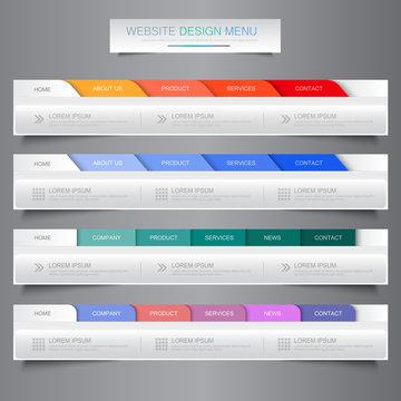 Web site design menu navigation elements with icons set: Navigat
