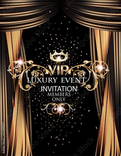 Vip elegant luxury event invitation card with gold theater curtains vip elegant luxury event invitation card with gold theater curtains vector illustration stopboris Image collections
