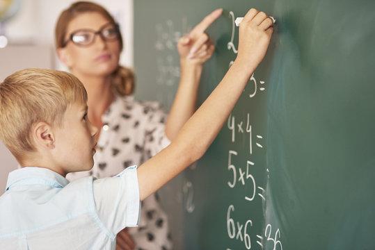 Teacher trying to help boy understand the Maths.