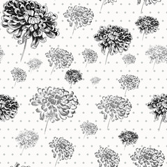 Chrysanthemums  flowers. Wallpaper. Seamless pattern.  Use printed materials, signs, items, websites, maps, posters, postcards, packaging.