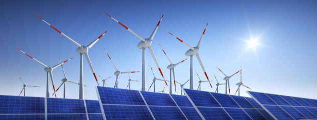 Windräder und Solaranlage mit Sonne