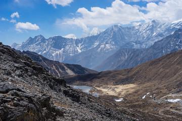 Landscape of Himalaya mountain range after cross Renjo la pass,