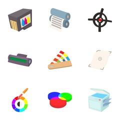 Printing icons set, cartoon style