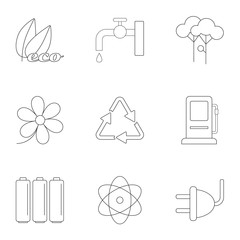 Kind of energy icons set, outline style
