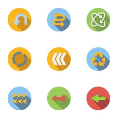 Pointer icons set, flat style