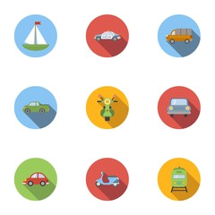 Vehicle icons set, flat style
