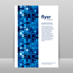 Flyer or Cover Design with Abstract Blue Pattern