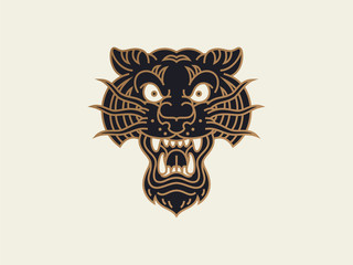 traditional old school tattoo. logo design template. tiger head. vector