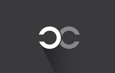Alphabet letter c grey white logo icon design
