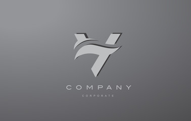 Alphabet letter V silver grey logo icon design
