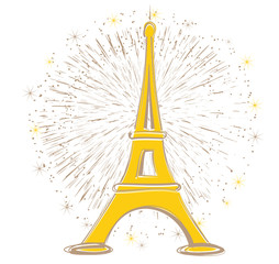 tour Eiffel Paris feu d'artifice