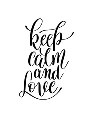keep calm and love black and white hand written lettering romant