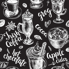 Seamless pattern with lettering and hand drawn warming drinks - Irish coffee, apple cider, cocoa, grog, hot chocolate. Vector illustration.