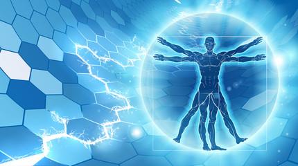 Vitruvian Man Hexagon Background
