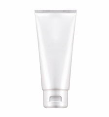 Blank White cosmetic tube pack Of Cream Or Gel with clip path