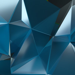 3d abstract rendering of fractured glass surface. Distorted triangular polygon model.