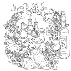 Wall Murals Doodle italian cuisine for coloring book