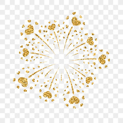 Heart firework gold. Beautiful flat golden firework isolated on transparent background. Bright decoration design Valentine day, romantic love card, wedding celebration, festival Vector illustration