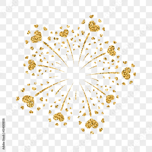 Heart Firework Gold Beautiful Flat Golden Isolated On Transparent Background Bright Decoration Design